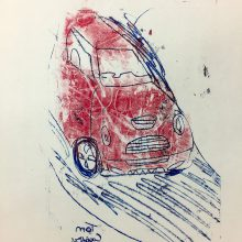 Monoprint Car by Tom, Insight School of Art