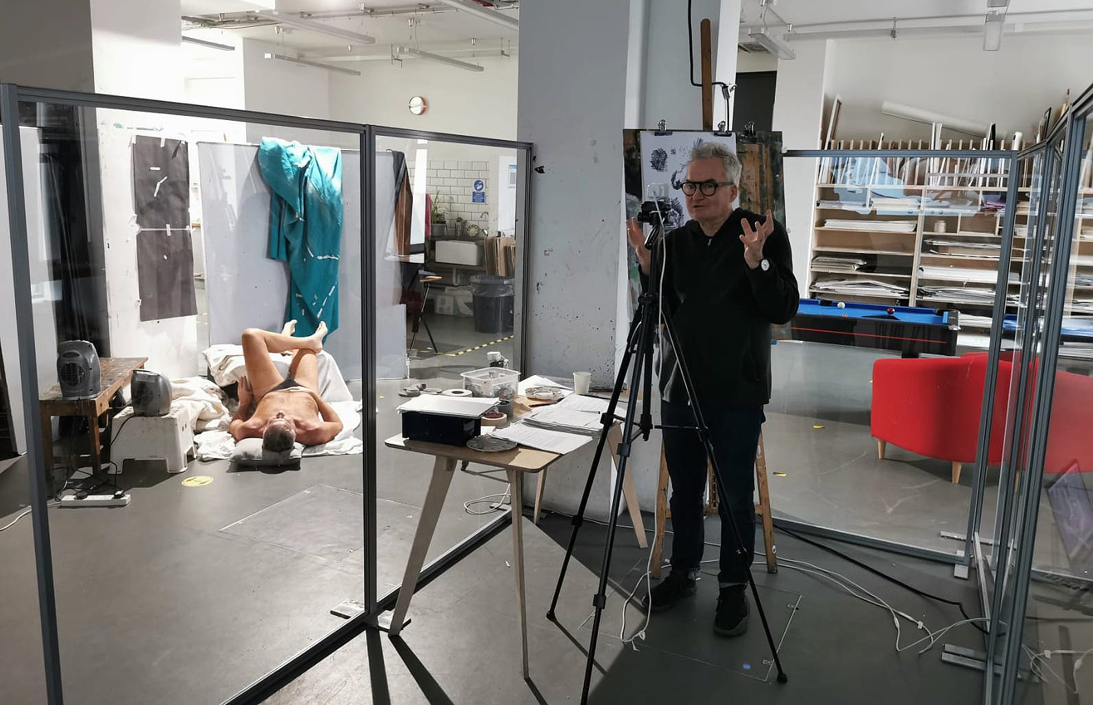 An online life drawing session with tutor Mick Kirkbride